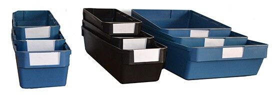 Black Delabin and blue storage container with label