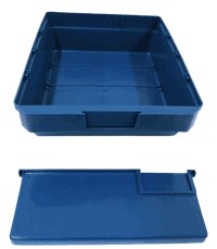 Plastic storage bin with large divider