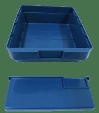 Blue storage bin with divider