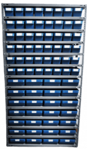 Delacombo with 48 small and 28 large shelf bins