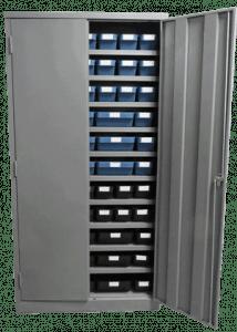 Lockable cabinet with delabins