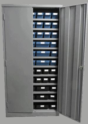 lockable cabinet with sturdy plastic storage bins, delabins