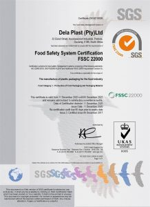 Delaplast food safety certificate FSSC 22000